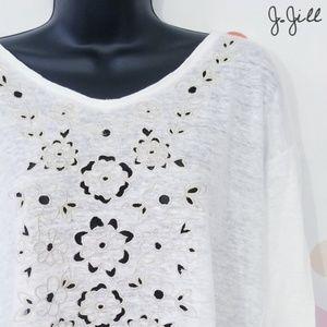J. Jill 100% Linen Floral Eyelet Cutout Shirt